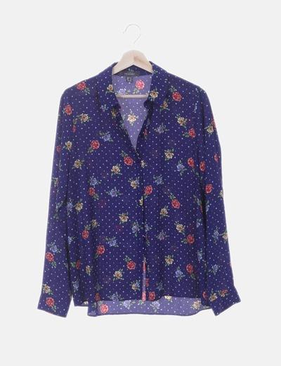 Camisa azul print floral