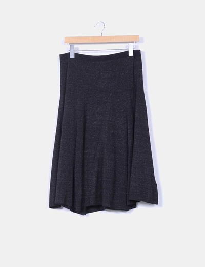 Falda midi negra con brillos plateados Zara