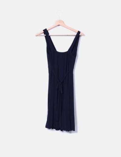 Vestido drapeado azul marino