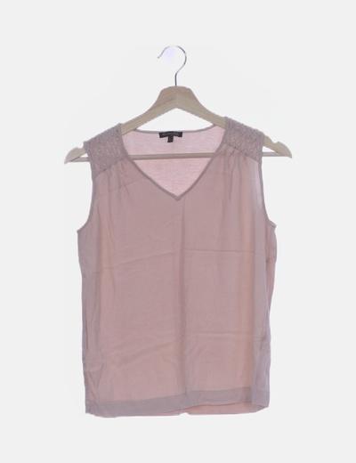 Blusa rosa palo detalle strass