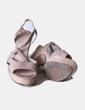 Sandalia de tacón texturizada beige Cortefiel