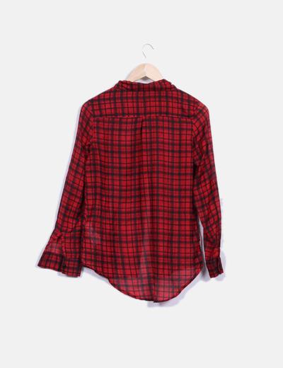 Blusa manga larga roja de cuadros