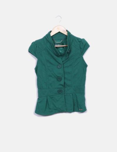 Chaqueta verde manga corta Bershka