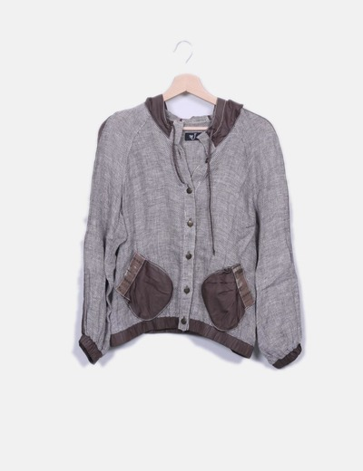 Chaqueta tricot marrón con capucha MJ de Atian