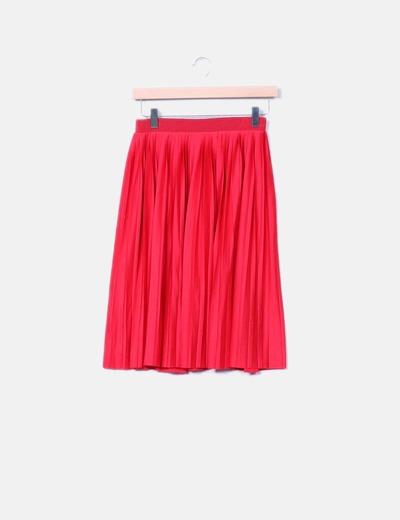 e79eb8691f H M Falda midi roja plisada (descuento 81%) - Micolet