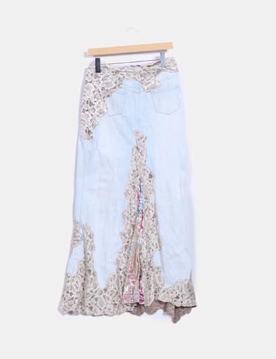 Maxi falda denim combinada con encaje