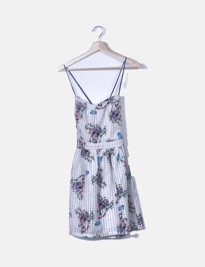 Vestido blanco texturizado print floral