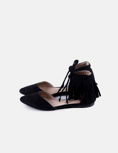 Bailarina antelina negra flecos