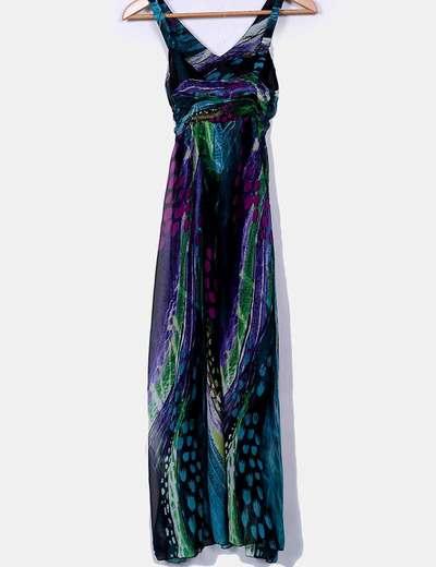 604e4ac78 NoName Vestido largo de gasa multicolor (descuento 71%) - Micolet