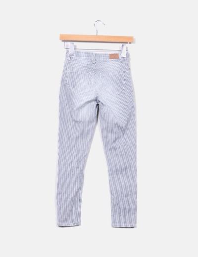 Pantalon de rayas pitillo cintura alta