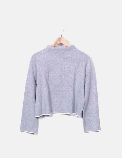 Jersey tricot gris cuello mao