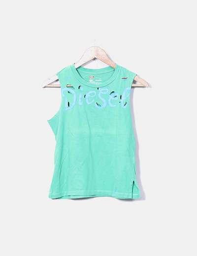 T-shirt vert imprimé cassé Diesel