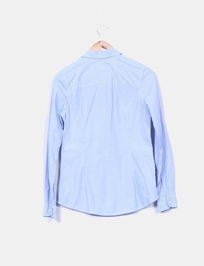 Camisa de rayas azul manga larga