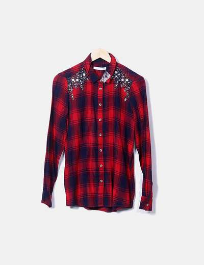 Red plaid shirt with strass Sfera