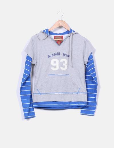 Sudadera gris efecto camiseta  Bandolli