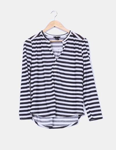 Camisa rayas blancas y negras H&M