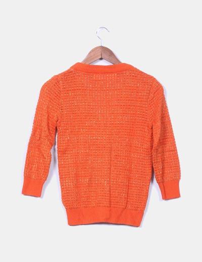 Chaqueta tricot naranja manga francesa hilos glitter