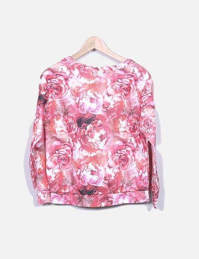 Sudadera floral rosa