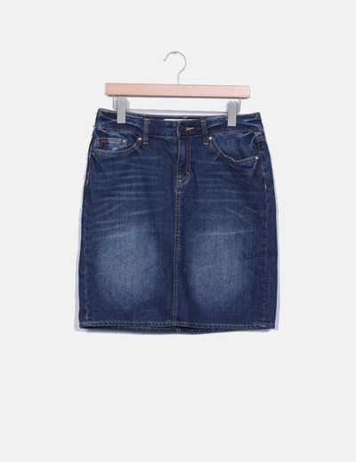 Falda denim oscura