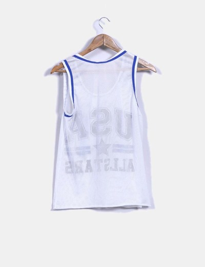 Camiseta blanca de rejilla print