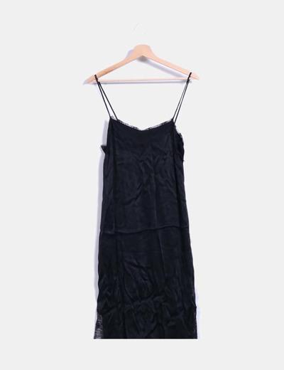 Vestido lencero encaje negro Zara