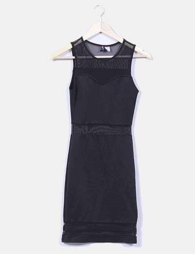 Vestido negro ajustado con semitransparencias H&M