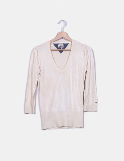 Polo beige cuello pico Hilfiger Denim