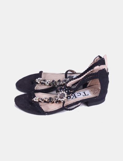 Sandalias negras strass TCK