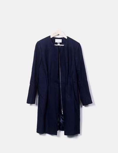 Abrigo largo liso azul marino