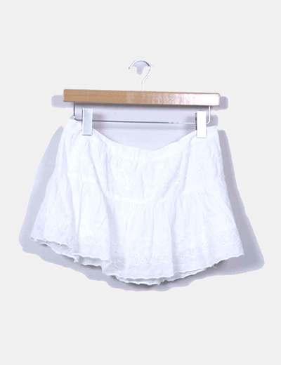 Mini falda guipur blanco Bershka