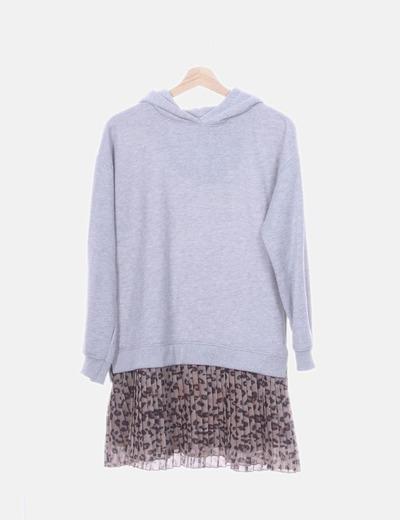 Vestido gris combinado animal print