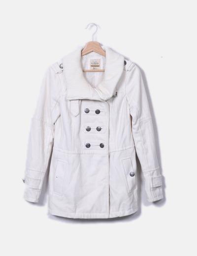 Manteau blanc tissu court Bershka