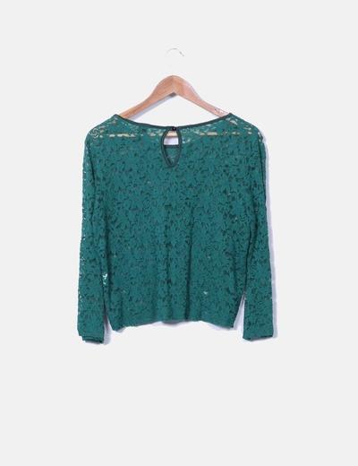 Top crochet verde