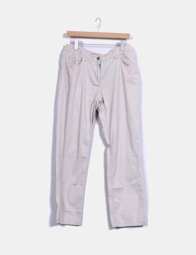 Pantalón fino beige ancho Tintoretto