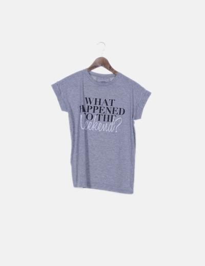 Camiseta gris jaspeada con mensaje