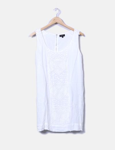 Vestido blanco con lentejuelas y pedrería Suiteblanco