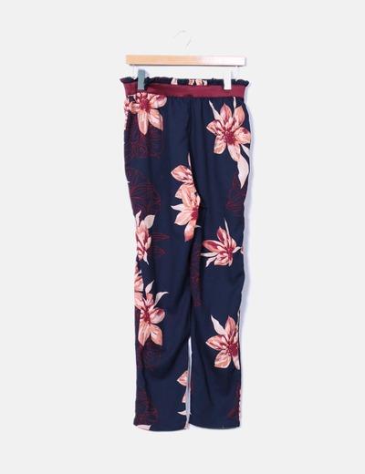 Pantalón azul estampado floral Vero Moda