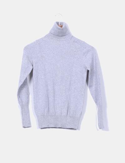 Jersey gris de cuello vuelto Zara