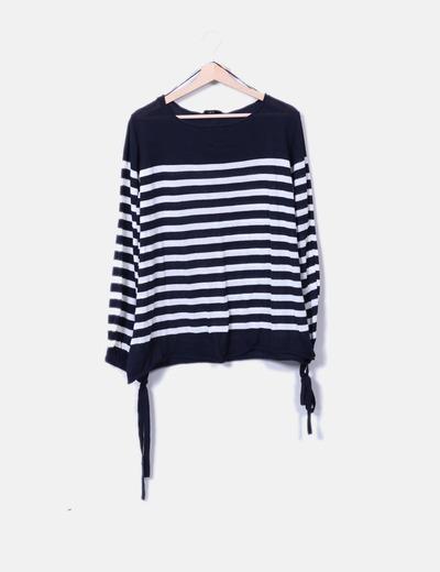 Suéter tricot navy mangas farol Zara