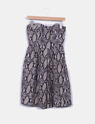 Vestido animal print palabra de honor Zara