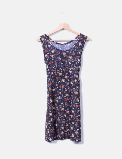 Vestido midi azul estampado floral semitransparente NoName
