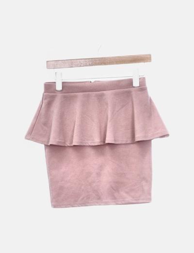 Falda rosa peplum