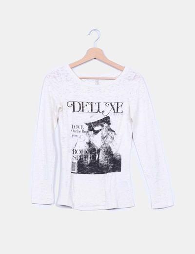 Camiseta beige manga larga estampada Pepe Jeans