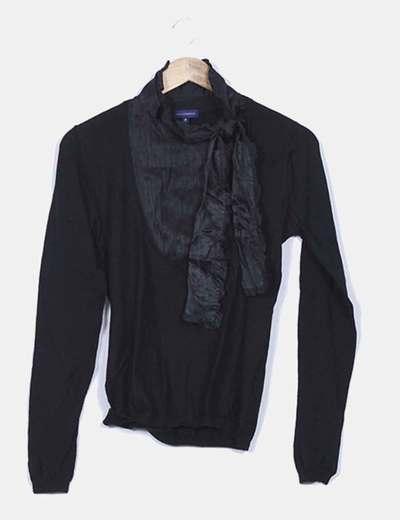 Jersey tricot negro escote raso Adolfo Dominguez