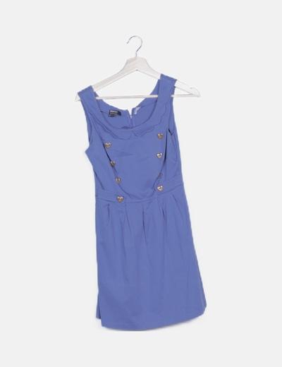 Vestido midi azul moteado detalle doble botón