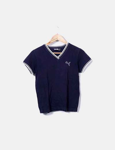 Camiseta azul marina cuello pico Puma