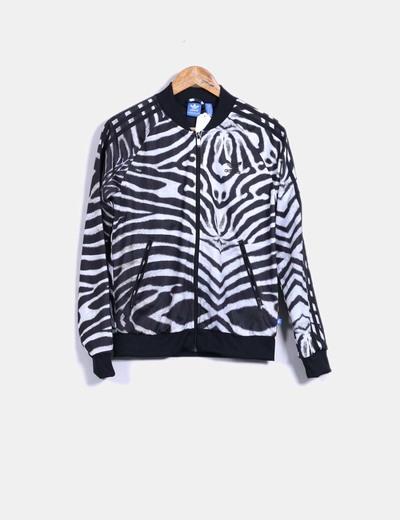 Sudadera animal print blanco y negro Adidas