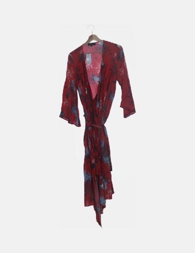 Kimono largo rojo estampado floral