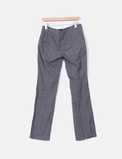 Pantalon de traje gris pata de gallo