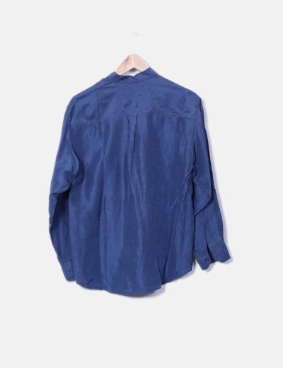 Camiseta satinada azul